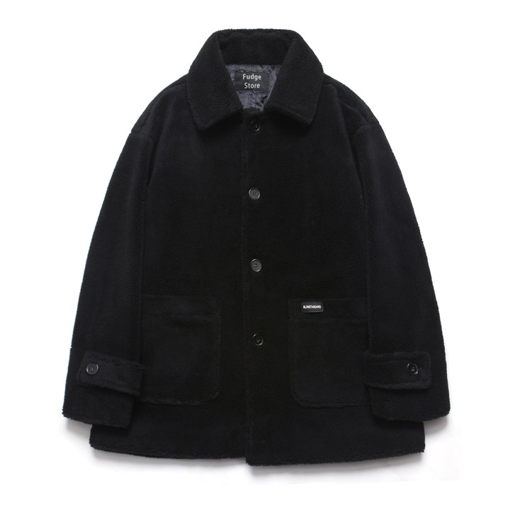 [라퍼지스토어]Fleece Over Half Coat_Black