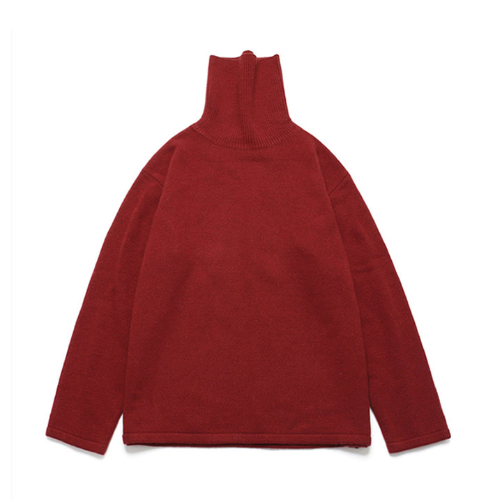 [라퍼지스토어] (Unisex)Cashmere Wool Polo Neck Knit_Poppy Red