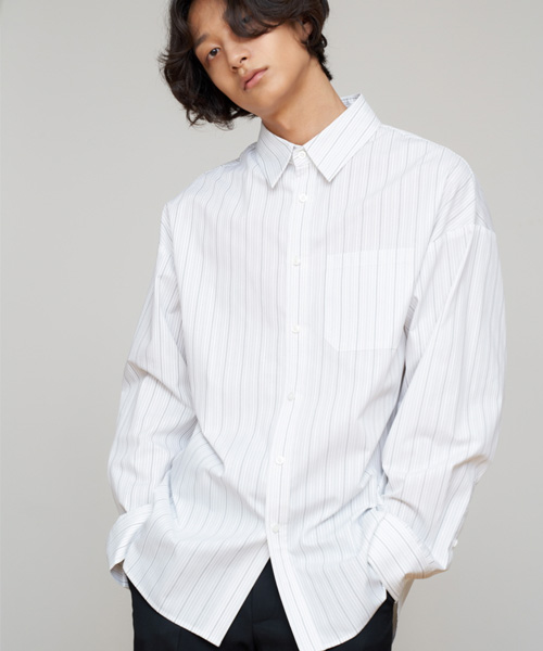[에스티유]Overfit stripe shirt white