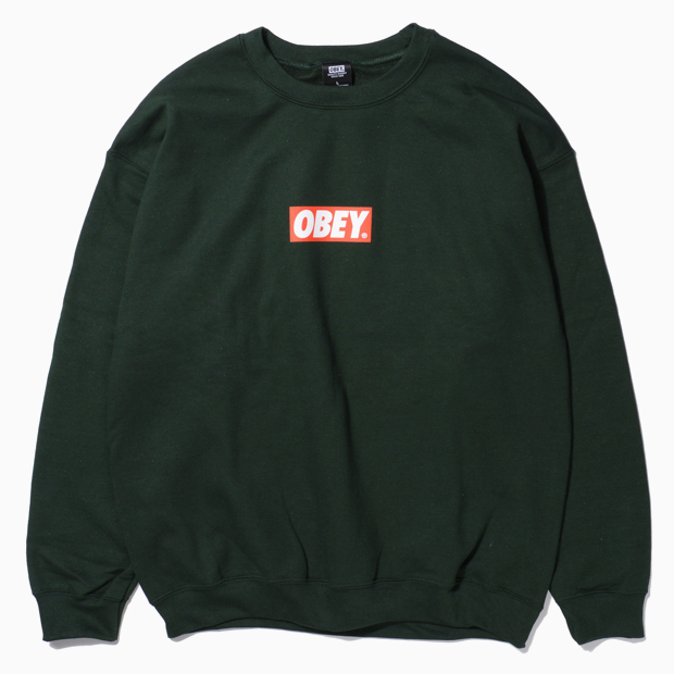 [오베이]OBEY BAR LOGO - FOREST GREEN 크루넥