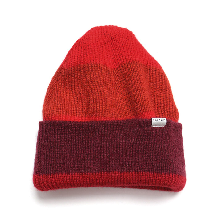 [라퍼지스토어]Angora Stripe Long Beanie_Red