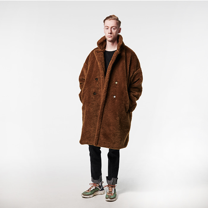 [12/28배송][데드엔드] BROWN FUR LONG COAT