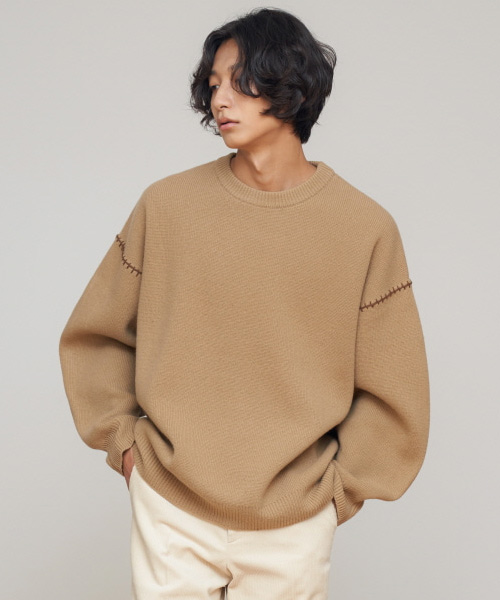 [에스티유]Stitch overfit wool knit beige