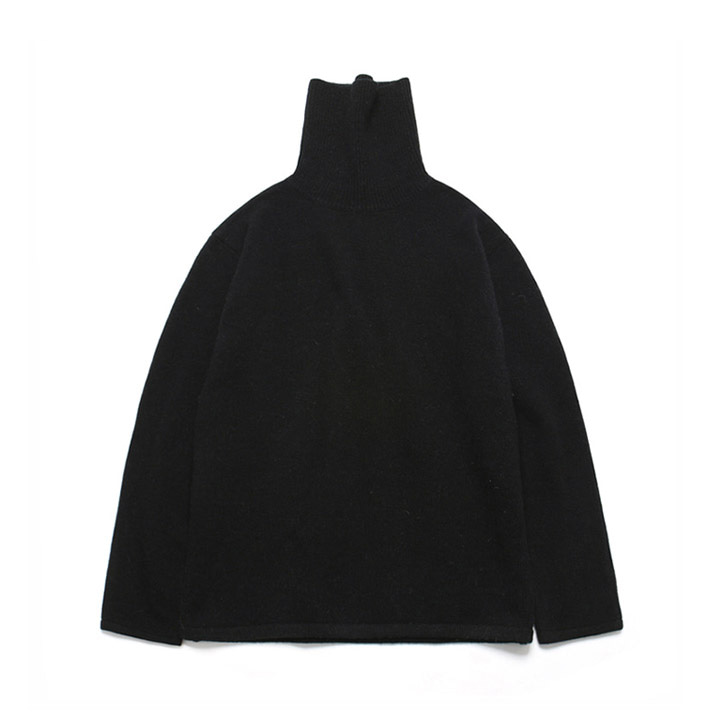 [라퍼지스토어] (Unisex)Cashmere Wool Polo Neck Knit_Black