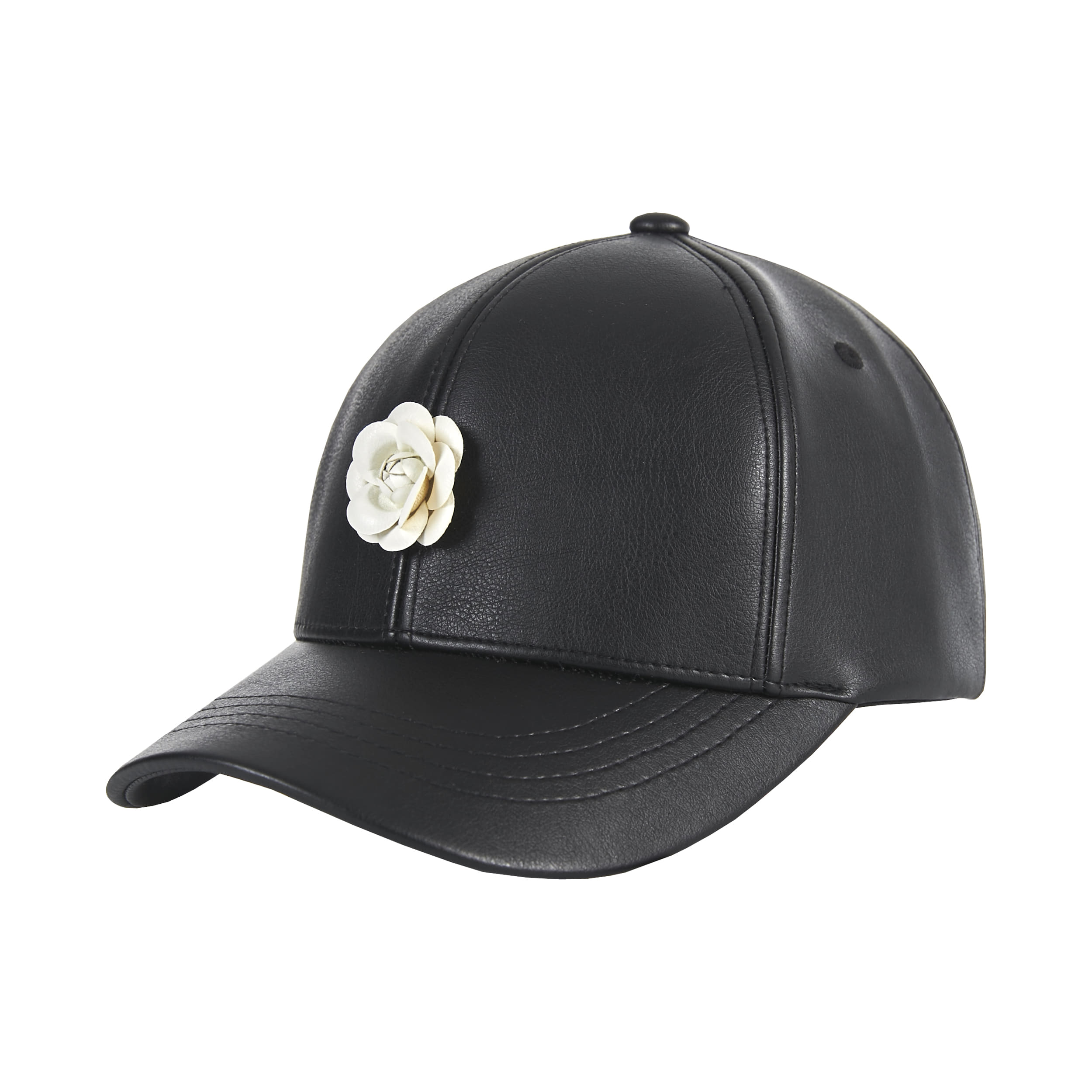 [바잘]   Camellia leather ballcap black/white