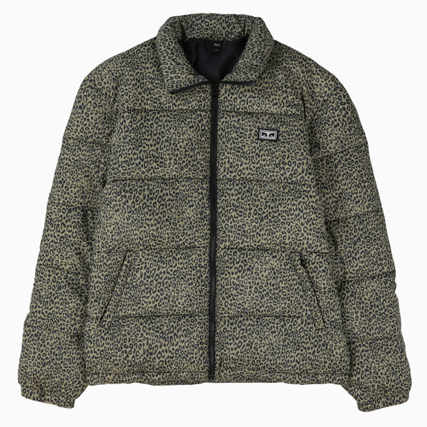 [오베이]BOUNCER PUFFER JACKET - KHAKI LEOPARD 숏패딩