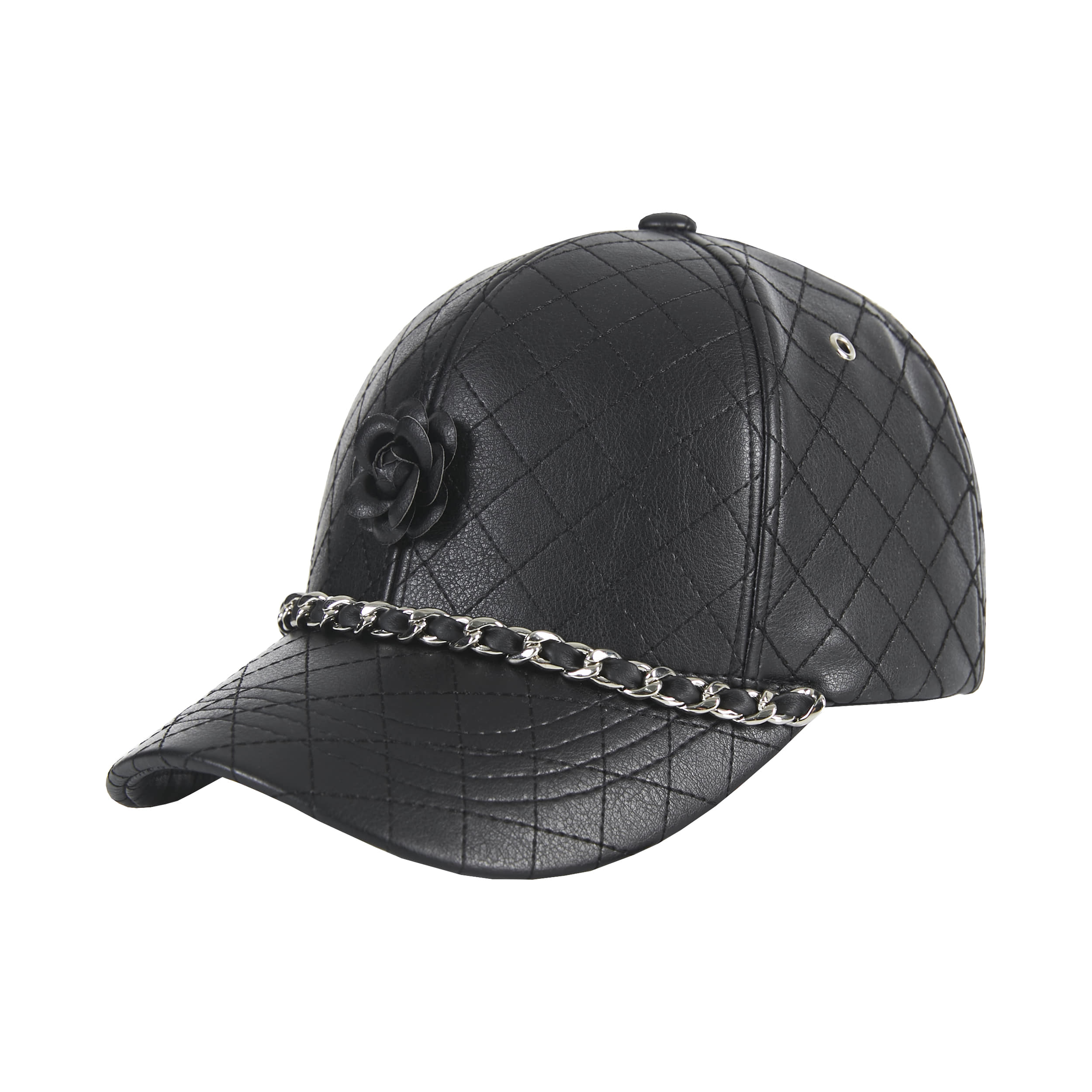 [바잘]   Camellia chain leather ballcap black