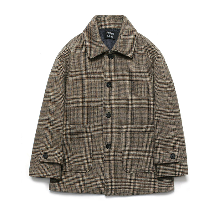 [라퍼지스토어] (Unisex) Cashmere Blend Glen Half Coat_Check