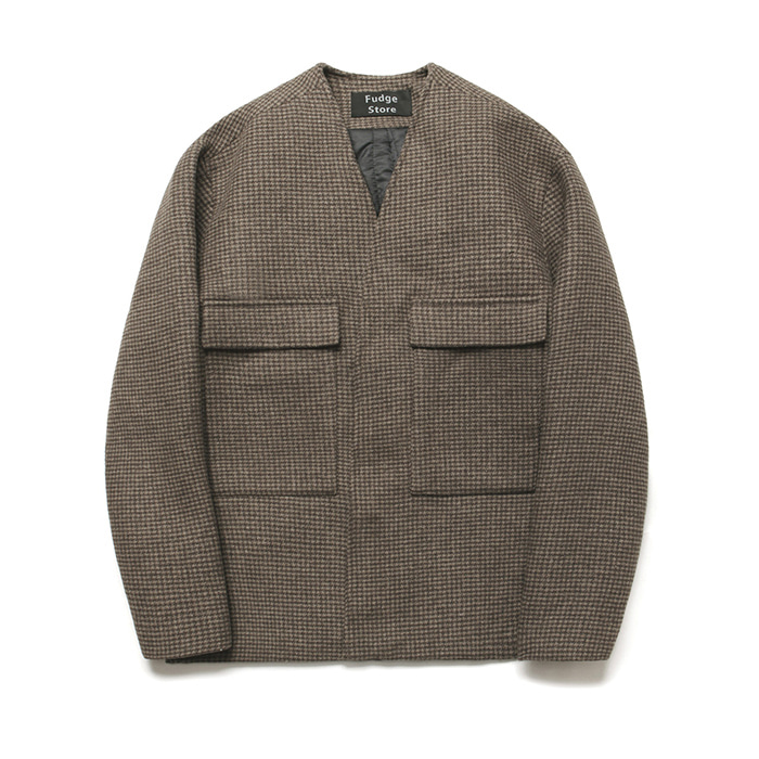 [라퍼지스토어] (Unisex) Wool Cardigan Coat_Hound's tooth Check Brown