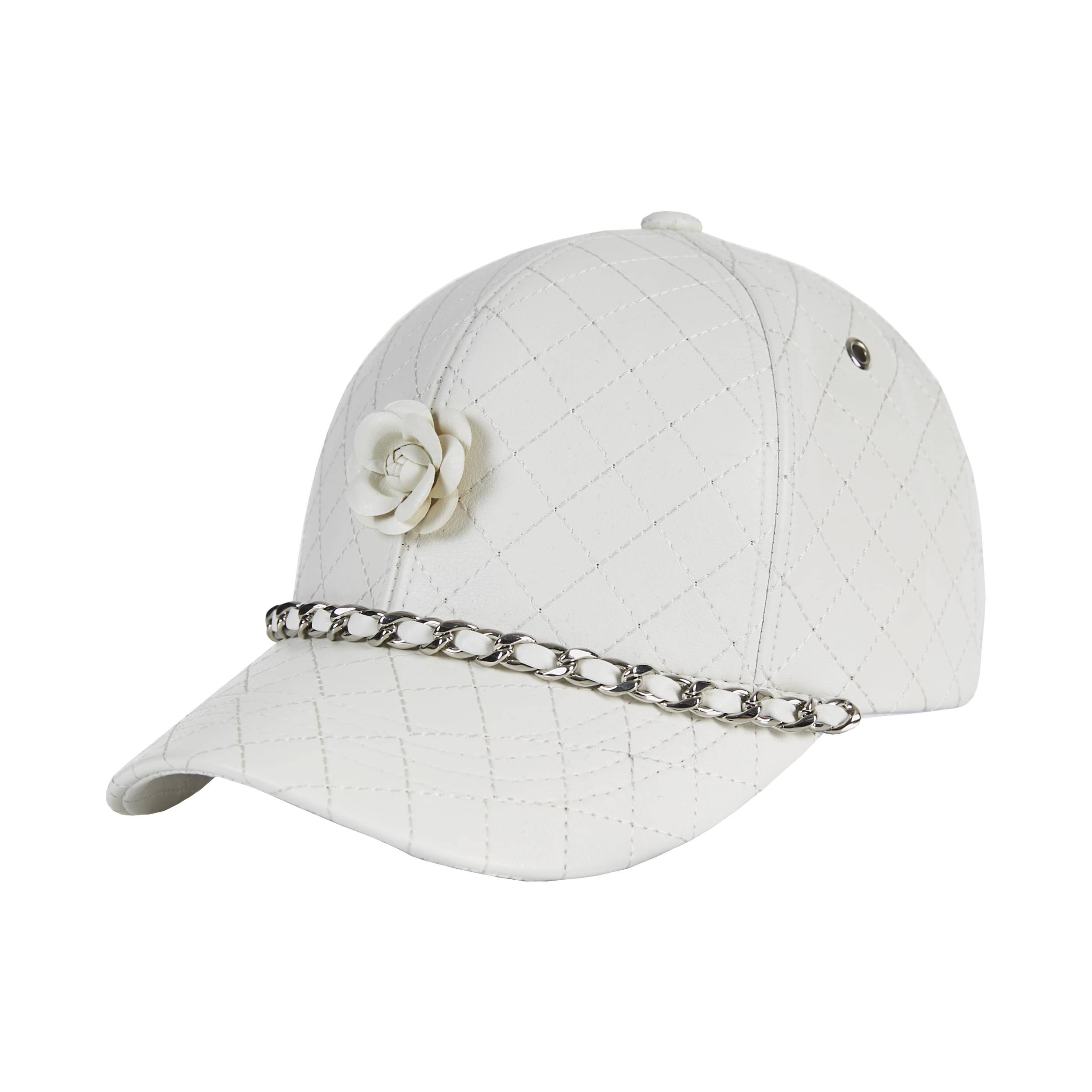 [바잘]   Camellia chain leather ballcap white