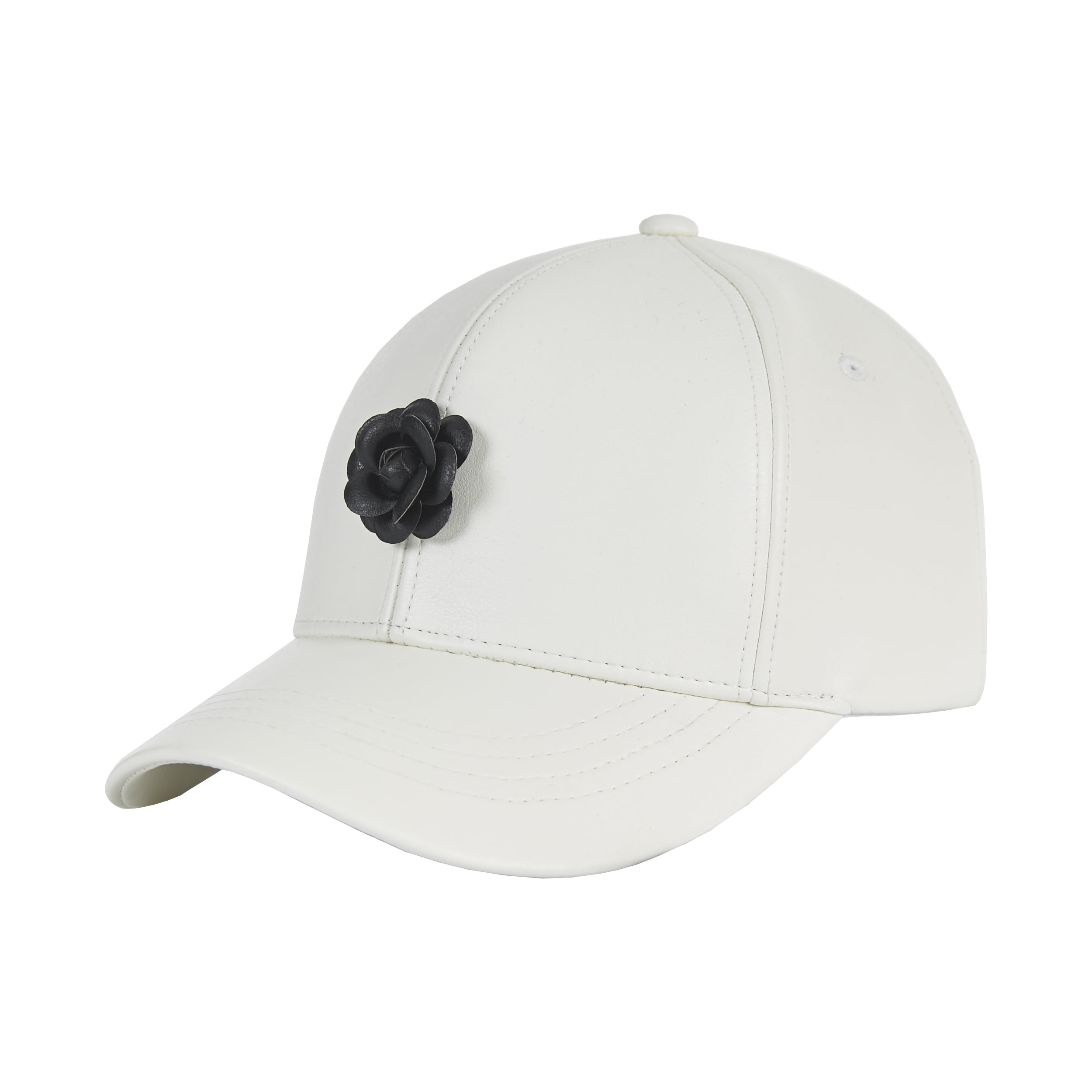 [바잘]   Camellia leather ballcap white/black