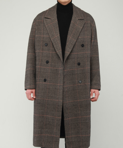 [모디파이드]M#1680 wool glen check double coat