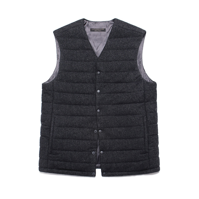 [라퍼지스토어] (Unisex) Cashmere Blend Padding Vest_Charcoal