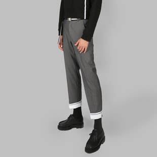 [우니베르소]LAYERED LABEL PANTS-GRAY