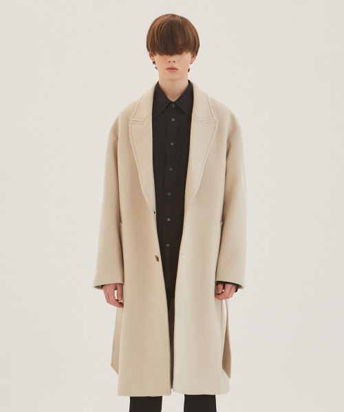 [에드]WOOL ROBE COAT CREAM
