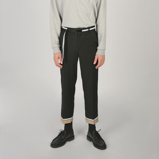 [우니베르소]LAYERED LABEL PANTS-BLACK