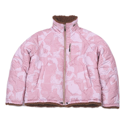 [아조바이아조 핑크 라벨] Reversible Manga Fake Fur Jacket [Pink]