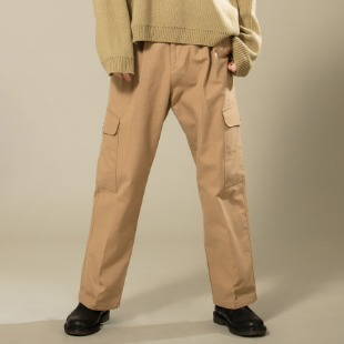 [우니베르소]SIMPLE POINT CARGO WIDE TROUSERS-BROWN