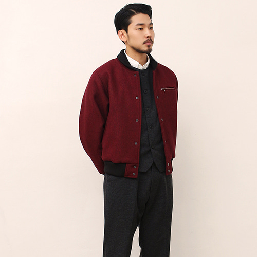 [블랙하인드]Wool Stadium Jacket -Burgundy-