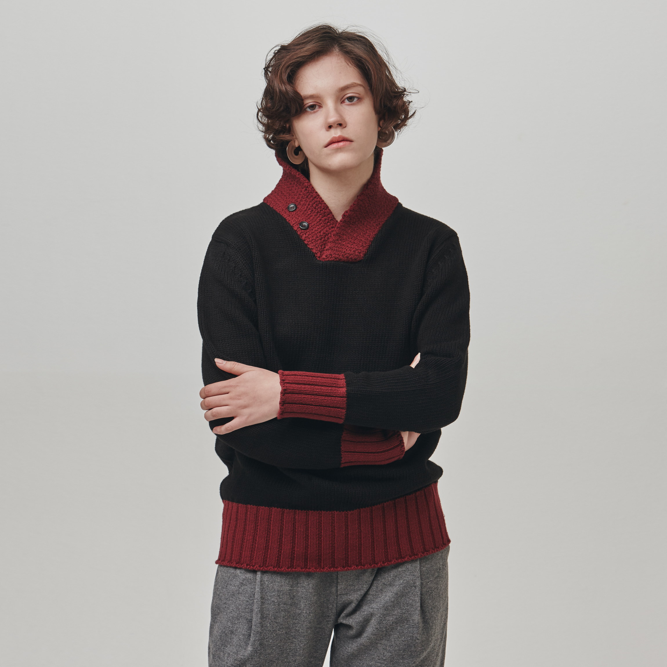 [에스파이] SHAWL-COLLAR COTTON SWEATER (BLACK-BURGUNDY)