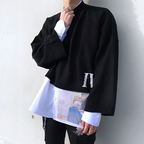 [4BLESS] Iv Over Crop Knit Black