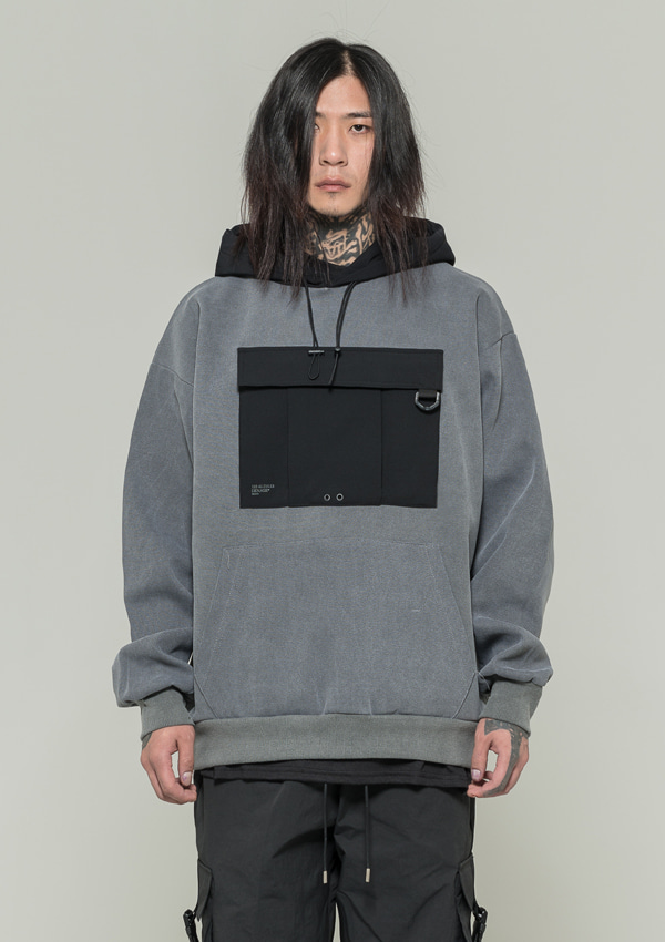 [드네이지] Utility Washing Hoodies GRAY