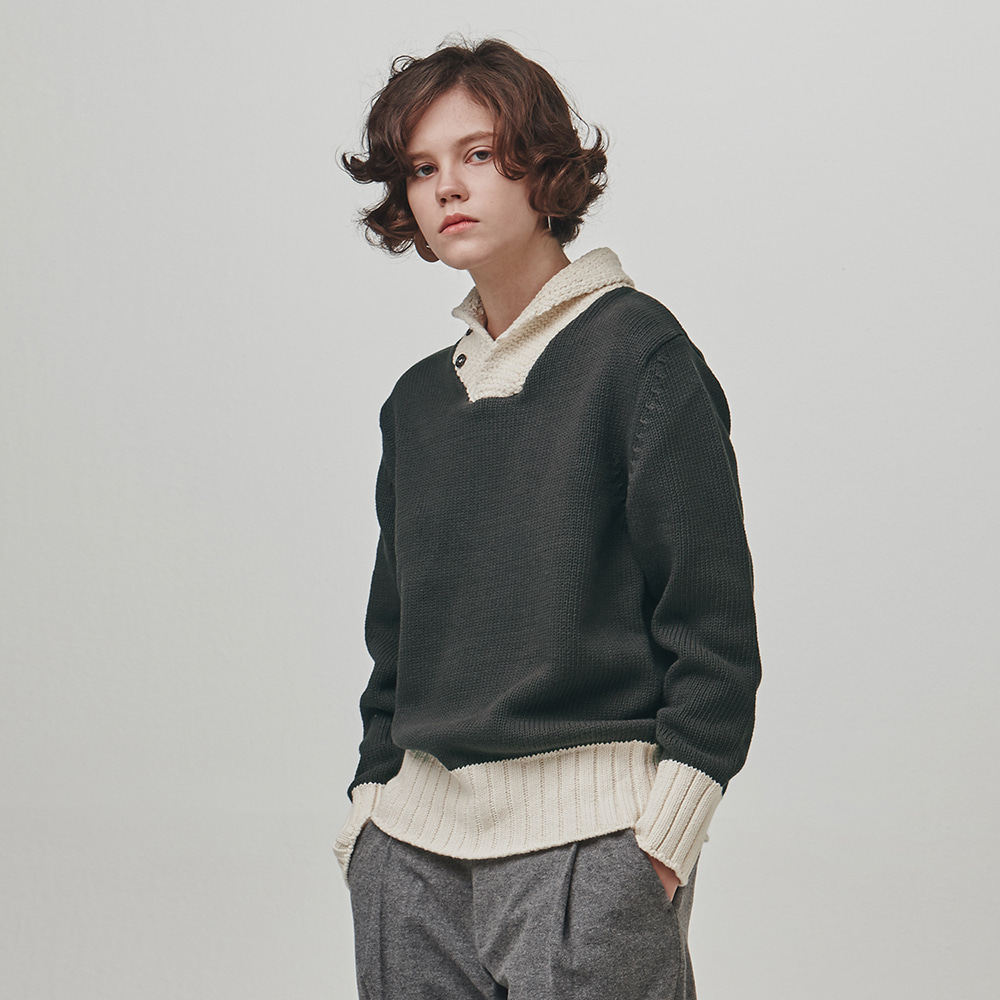[에스파이] SHAWL-COLLAR COTTON SWEATER (CHARCOAL GRAY-CREAM)