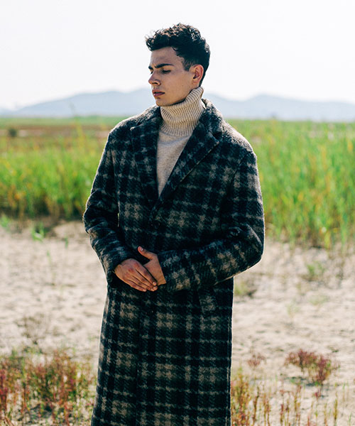 [스탠아드]Dark Beige Check Single Wool Coat