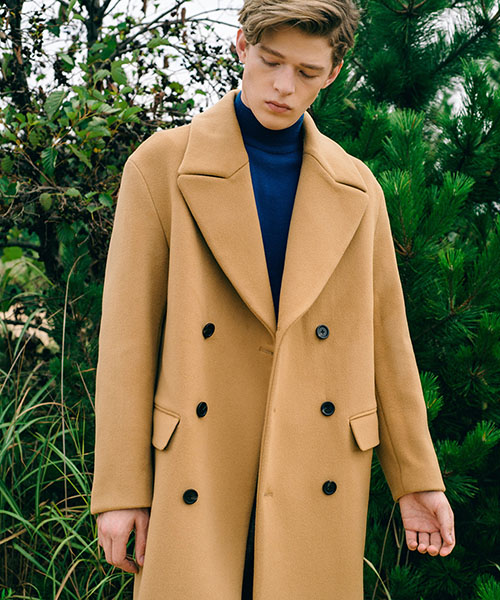 [스탠아드]Camel Semi Over Double-breasted Wool Coat