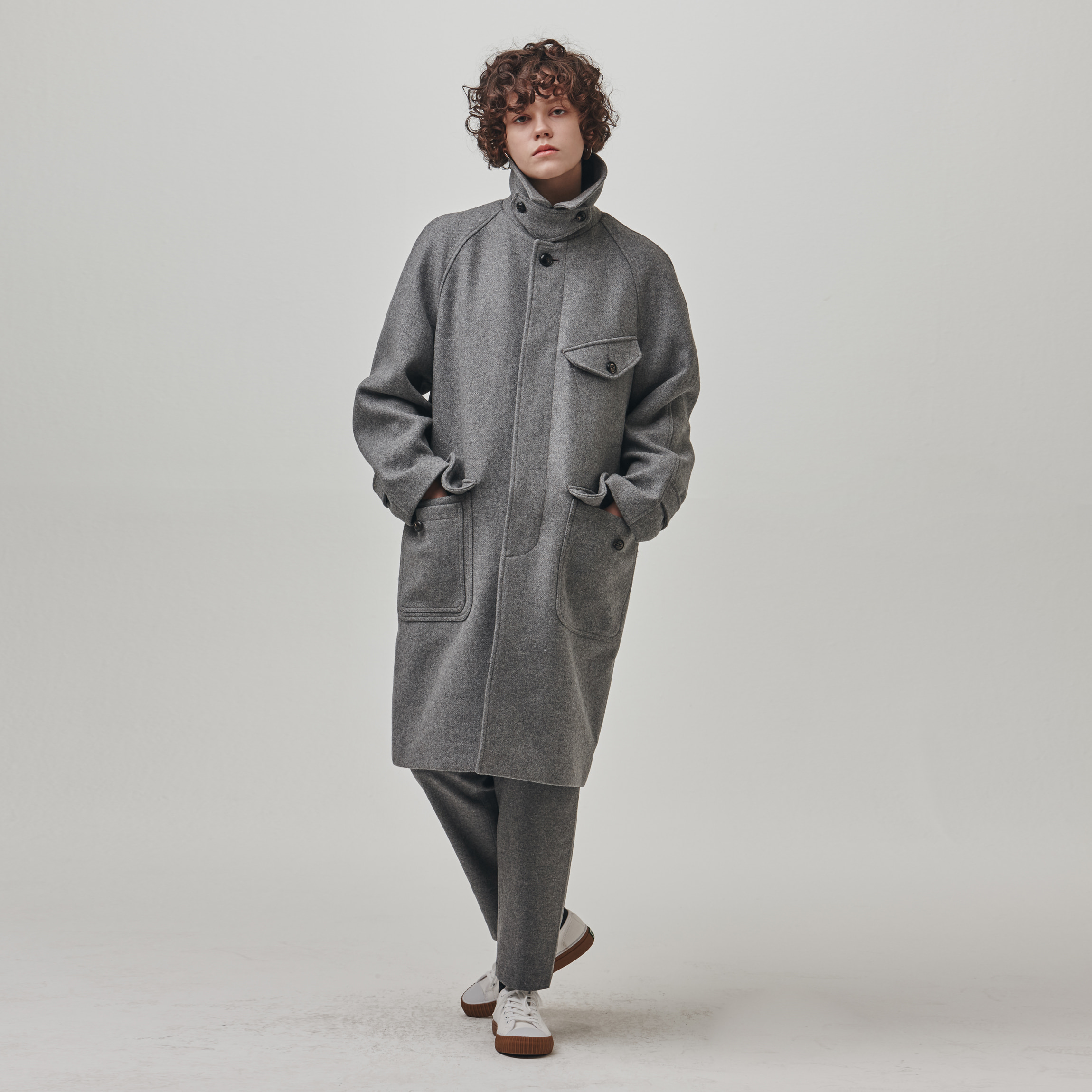 [에스파이] Raglan Perm Coat (GRAY)
