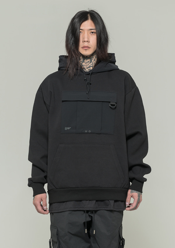 [드네이지] Utility Washing Hoodies BLACK