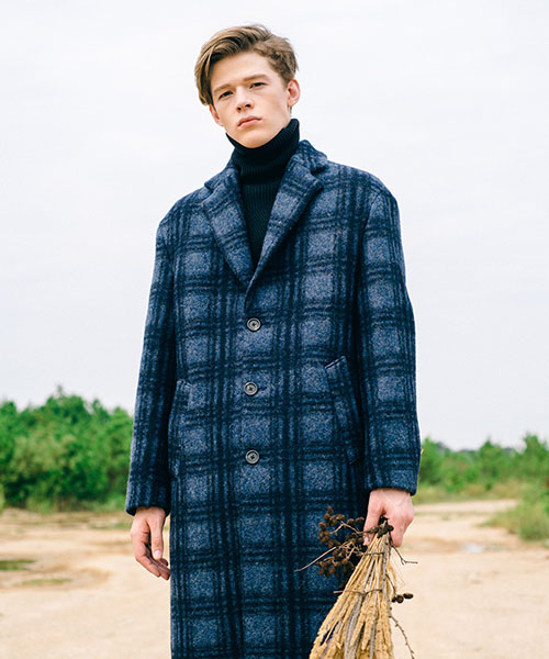 [스탠아드]Blue Check Single Wool Coat