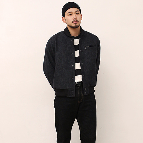 [블랙하인드]Wool Stadium Jacket -Charcoal-