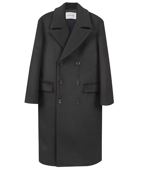 [스탠아드]Black Semi Over Double-breasted Wool Coat