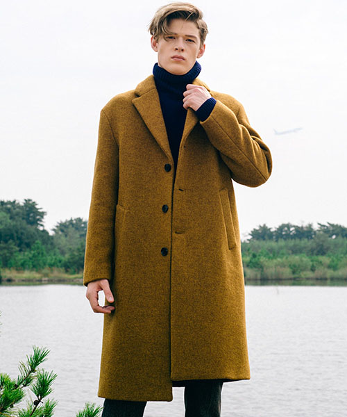 [스탠아드]Mustard Semi Over Single Wool Coat