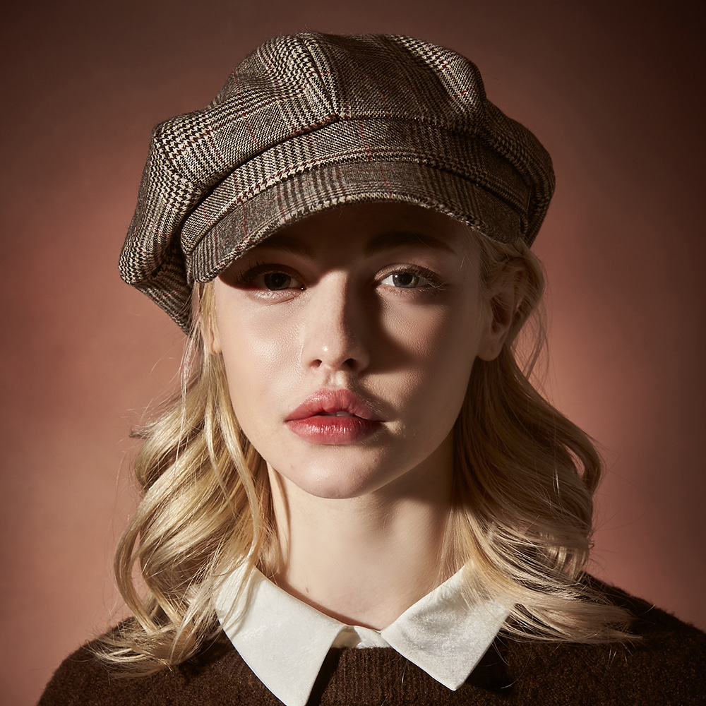 [바잘]   Glen check newsboy cap gray