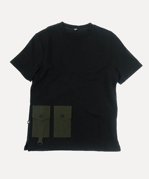 [비아지아] U.H.T01 2pocket  half t-shirt - black
