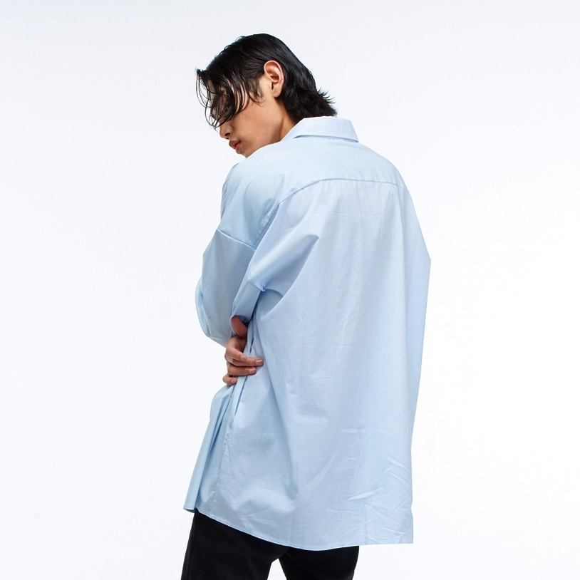 [네버커먼] oversized 3 mix shirt - sky blue