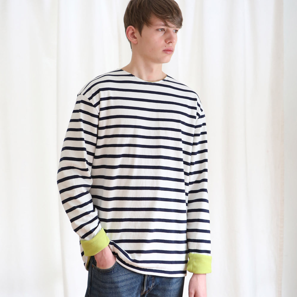 [언아웃핏] UNISEX FLEECE STRIPE T-SHIRTS NAVY