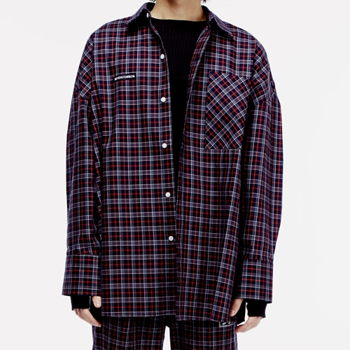 [네버커먼] oversized check shirt