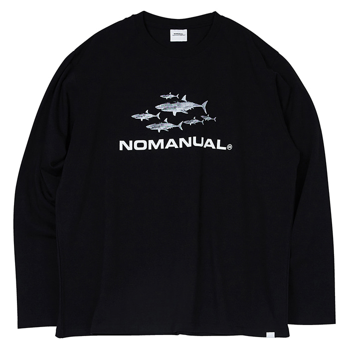 [3/20 예약배송][노매뉴얼] SHARK TM LONG SLEEVE TEE - BLACK