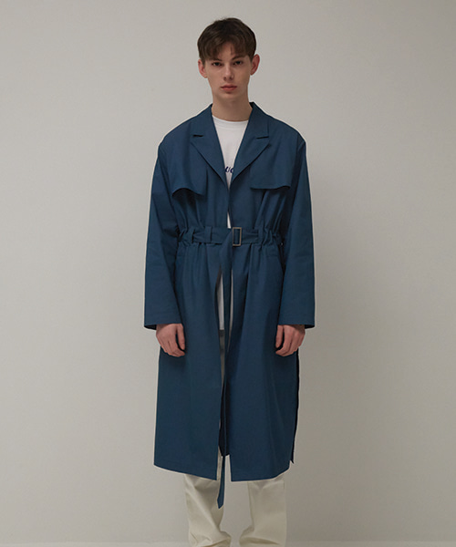 [뮤게] BELT TRENCH COAT BLUE