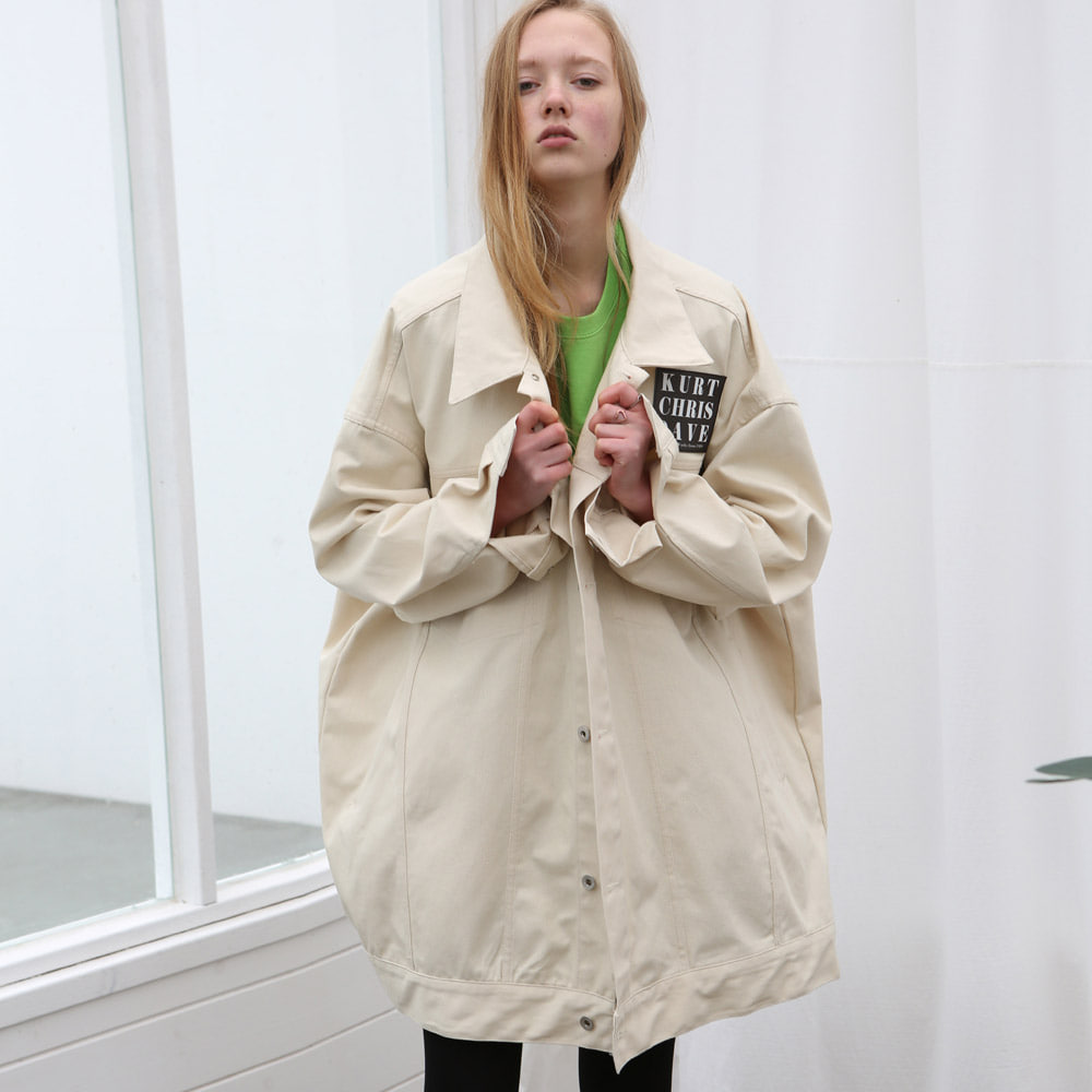 [언아웃핏] UNISEX OVERFIT TRUCKER JACKET CREAM