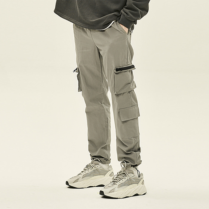 [예약판매][데드엔드] GRAY CARGO ZIPPER STRING PANTS