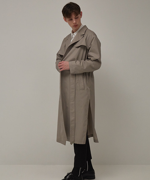 [뮤게] BELT TRENCH COAT GRAY