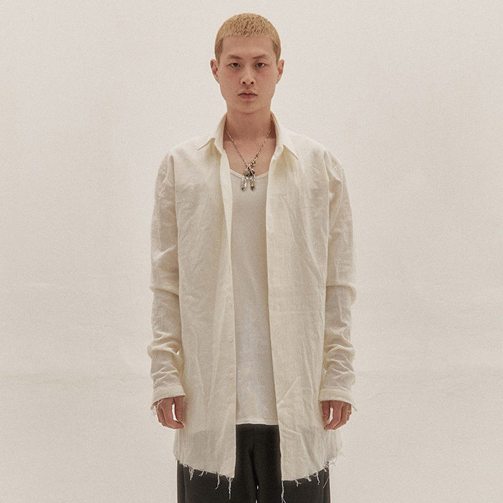 [이노반트] pleated cutting shirt (ivory)