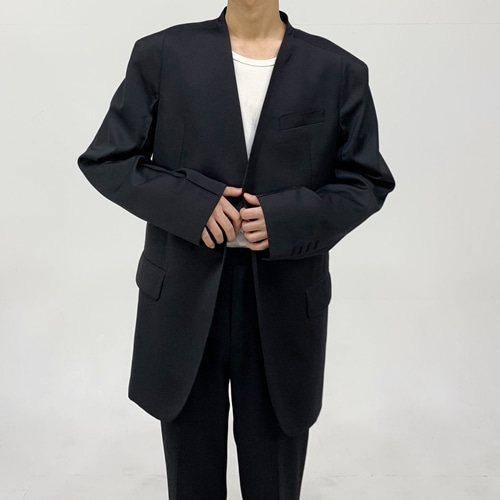 [시멘트]2019 signature blazer black (COLLARLESS)