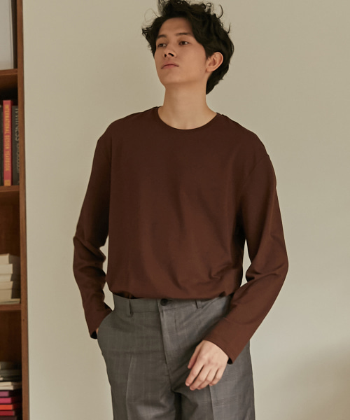 [(407)하우스] Modal Long Sleeve T-Shirt (Brown)