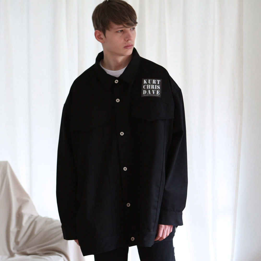 [언아웃핏] UNISEX OVERFIT TRUCKER JACKET BLACK