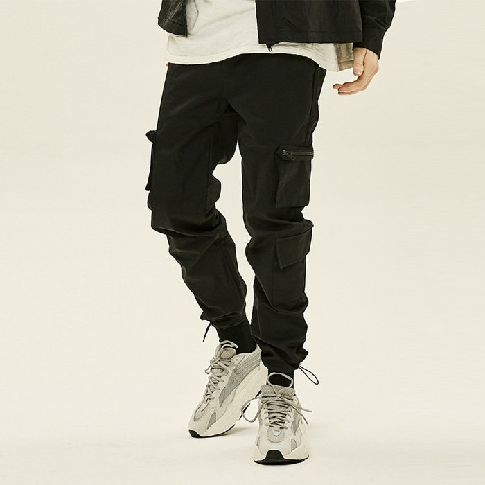 [예약판매][데드엔드] BLACK CARGO ZIPPER STRING PANTS